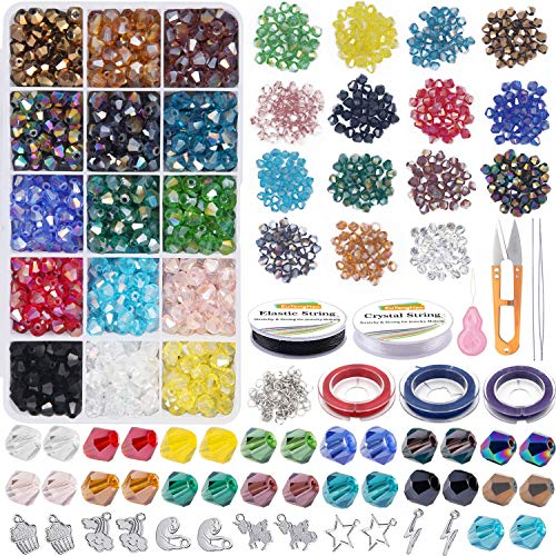 EuTengHao 1115Pcs Crystal Bicone Beads Faceted AB Glass Beads Diamond Shaped Crystal Beads Set with Pendant Elastic String for DIY Beading Bracelet Necklaces Earrings Crafting Jewelry Making Supplies