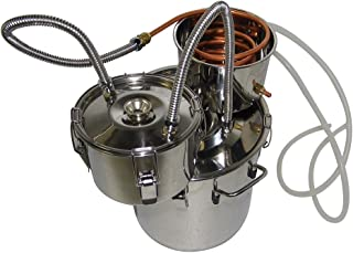 OLizee 3 Pots 5 Gal Stainless Steel Water Alcohol Distiller Copper Tube 18L Moonshine Still Spirits Boiler Home Wine Making Kit
