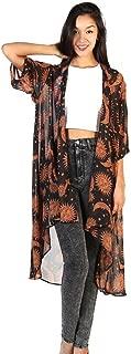 Fanteecy Women Boho Sun Moon Printed Long Cardigan Kimono Robe Tops Chiffon Blouse Cover Ups Capes
