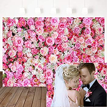 Mocsicka Pink Flowers Photography Backdrop Pink Roses Floral Wall Wedding Photo Background Valentine s Day Birthday Party Dessert Cake Table Decoration Photo Studio Props  7x5ft