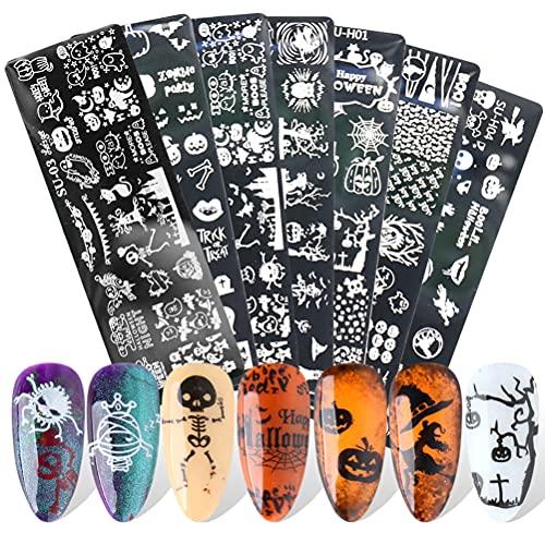 NEWMAN771Her Placas de arte de uñas de Halloween Kit de plantilla de plantillas de estampado, modelo de transferencia de...