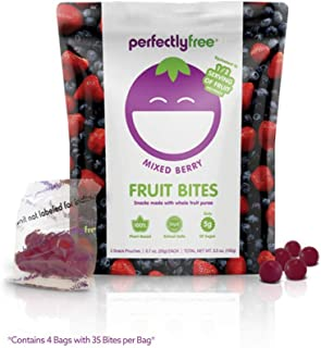 PERFECTLY FREE Fruit Bites - Vegan Fruit Snacks, Gluten Free, Allergy Friendly, Non-GMO, Gelatin-Free Fruit Bites for Kids and Adults (Mixed Berry) (4 pack)