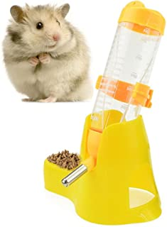 125ml Pet Drinking Bottle with Food Container Base Hanging Water Feeding Bottles Auto Dispenser for Hamsters Rats Small Animals Ferrets Rabbits Small Animals (125ML, Yellow)