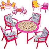 alles-meine.de GmbH Set: Miniatur - Gartenmöbel - 4 Stühle + Tisch + Stuhlauflagen - Kunststoff -...