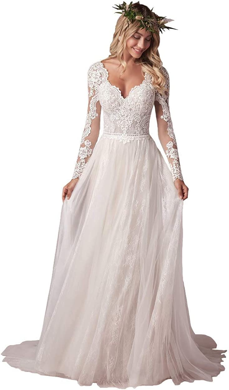 Women's Lace Wedding Dresses for Bride, A Line Beach Long Bridal Gowns with Sleeves