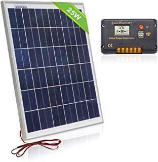ECO-WORTHY 12 Volt 25W Solar Charging Kit: 1pc 25 Watt Polycrystalline Photovoltaic Solar Panel with Cable+ 20 Amp 12V/24V LCD Solar Charge Controller