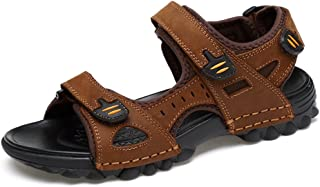 Sunny&Baby Men's Sandals Casual Cow Leather Toe Skid - Proof Breathable Magic Tape Large Size Outdoor Water Shoe Anti-Skid, Brown, 9.5 D(M) US