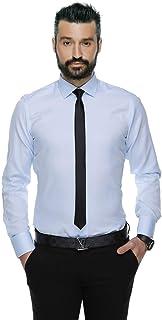 Buenza 4117 Dar Kesim Desenli Erkek Gömlek- Açık Mavi