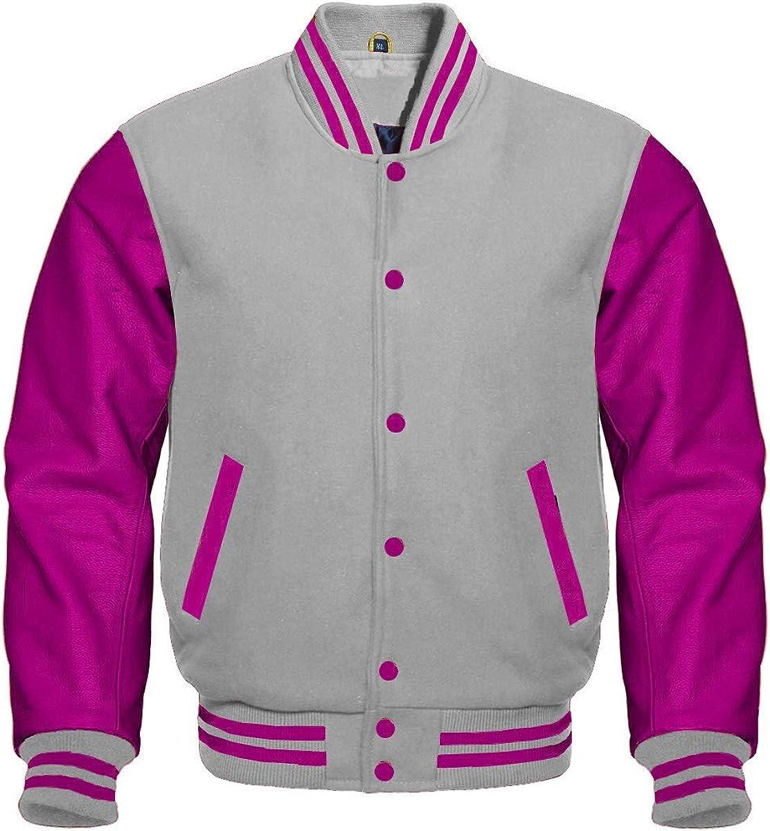 Revolution Enterprises Varsity Jacket Bomber Letterman Baseball Gray Wool & Hot Pink Leather Sleeves