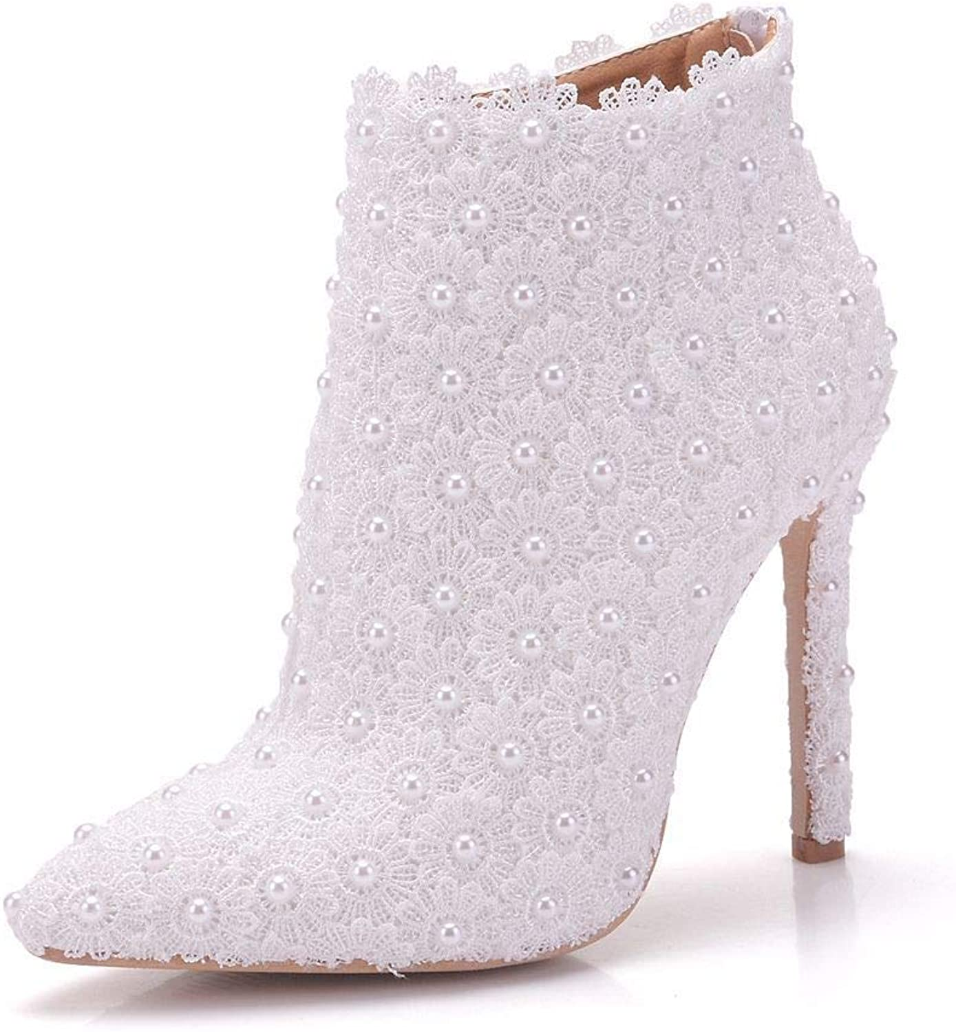 Women's shoes Lace PU Spring & Fall Sweet Wedding shoes Stiletto Heel Pointed Toe Booties Ankle Boots Imitation Pearl Satin White,White,CN37