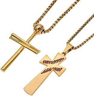 JIANA Men Baseball Cross Necklace Sports Stainless Steel Pendant Necklace and Baseball Bats Necklaces for Boys Jewelry Gifts