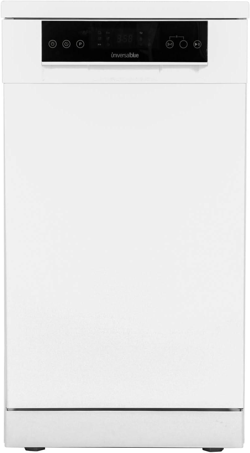 UNIVERSALBLUE | Lavavajillas 45 cm Libre instalación Blanco | Clasificación energética A++ | 5 Temperaturas | Control táctil | Filtros de Acero Inoxidable