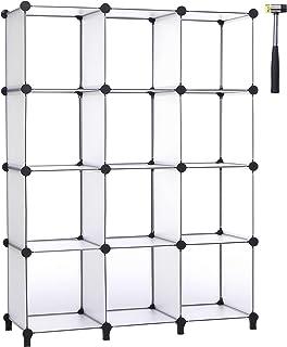 ANWBROAD 12-Cube Organisateur de Rangement DIY Modulaire Placard Organisateur Étagère Plastique Bibliothèque Étagères de R...