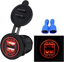 MChoice 5V 4.2A Dual USB Charger Socket Adapter Power Outlet for 12V 24V Motorcycle Car