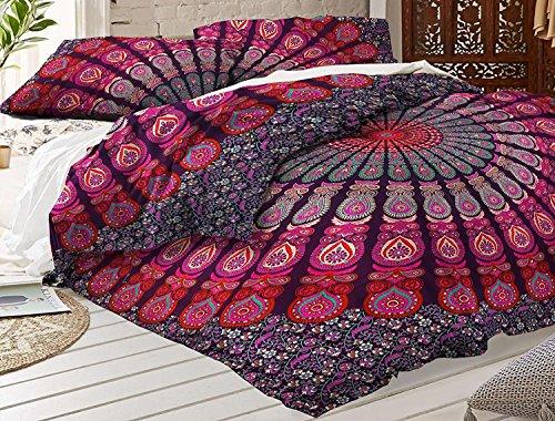 Sophia-Art Housse de couette indienne faite à la main en coton imprimé ethnique, bohème, mandala, ombre avec 2 taies d'oreiller, Coton, Lavande paon, Full 80*82 Inches