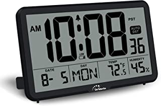 WallarGe Digital Wall Clock, Autoset Desk Alarm Clock with Temperature, Humidity and Date, Battery Operated, Digital Clock Large Display, 8 Time Zone, Auto DST. (Black)