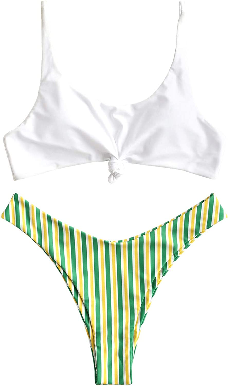ZAFUL Womens Contrast Striped Knot Department store 2 Straps 2021new shipping free shipping Bikini Hi Pieces Set