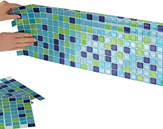 Collections Etc Multi-Colored Adhesive Mosaic Backsplash Tiles for Kitchen and Bathroom - Set of 6, Blue-Green