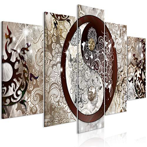 murando Cuadro en Lienzo Mandala 200x100 cm 5 Partes Impresión en Material Tejido no Tejido Impresión Artística Imagen Gráfica Decoracion de Pared Ornament Yin Yang p-A-0036-b-m