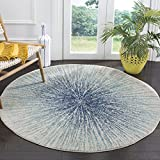 Safavieh Evoke Collection EVK228A Modern Contemporary Burst Area Rug, 4' Round, Royal/Ivory