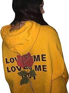 Blouse, Love Rose Print Hoodies for Womens Letter Printing Hooded Sweatshirts