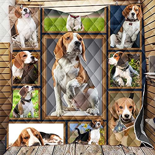 Colcha de Verano Colcha Acolchada para Cama, Chickwin 3D Cachorro Multiuso Edredón Manta de Dormitorio Suave Colchas para Primavera Cama Matrimonio Individual (Beagles,130x150cm)