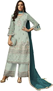 Krishna Tex Turquoise Net Embroidery Work Suit