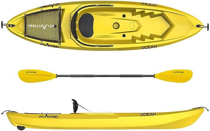 Kayak - canoa ocean giallo - schienalino + ruotino + pagaia - atlantis B07T3F88L5