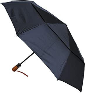 80KPH 9 Rib STRONG Reinforced WINDPROOF Frame With Fiberglass Umbrella - Wooden Straight Handle - Vented Double Canopy - Compact - Auto Open AND Close - Black