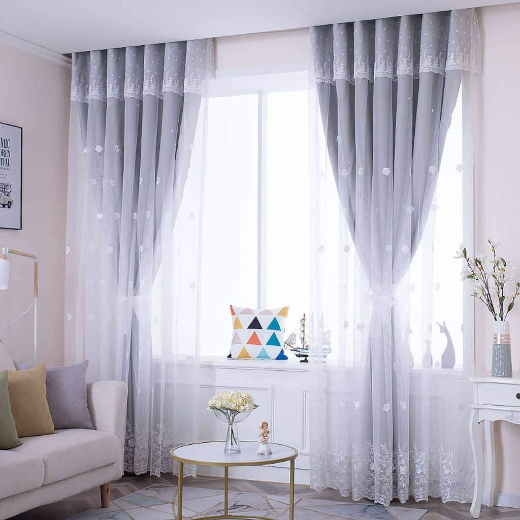 TTJJ Double Layer Voile Curtain Opaque Grommets with Thermal In Max 90% OFF Kansas City Mall