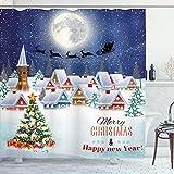 ABAKUHAUS Weihnachten Duschvorhang, Winter-Himmel-Mond-Stern, mit 12 Ringe Set Wasserdicht Stielvoll Modern Farbfest & Schimmel Resistent, 175 x 200 cm, Navy Weiß