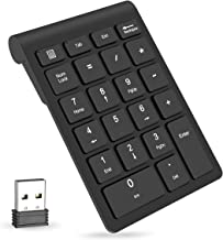 Wireless Number Pads, Numeric Keypad 22 Keys Portable 2.4 GHz Financial Accounting Number Keyboard Extensions for Laptop, PC, Desktop, Surface Pro, Notebook