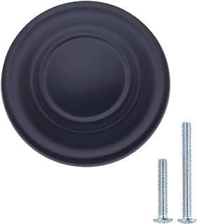 AmazonBasics - Pomo de armario con diseño de aro superior tradicional 317 cm de diámetro Negro liso Paquete de 10