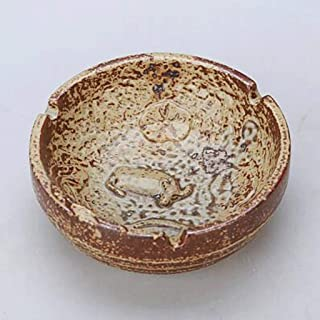 Ashtray, Drum Ceramic Ashtray, Antique Design, Printed with Water Buffalo Lotus Ashtray (Color : E),Colour:B (Color : E)