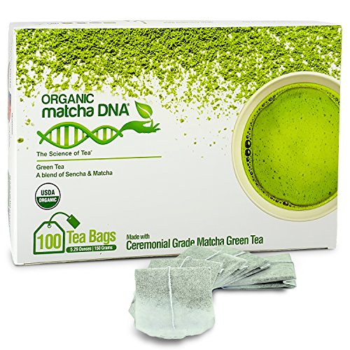 Matcha Teabags MatchaDNA Certified Organic Matcha Green Tea - 100 Tea Bags