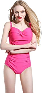 Women's one-Piece Swimsuit Solid Color Sexy Thin high Elastic Belt Chest pad Without Steel Support Swimsuit (Color : Red, Size : 12)