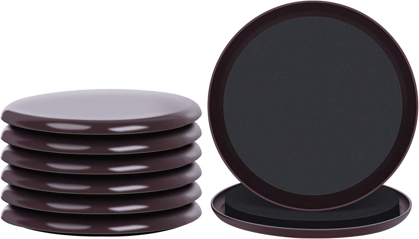 8 Pack 5 Inch Furniture Sliders and Reusable Glides for Carpet,Moving Heavy Furniture Quickly and Easily with Furniture Mover (Brown)