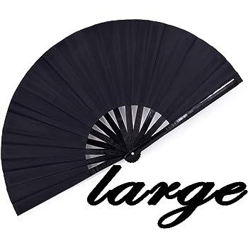 meifan Large Rave Folding Hand Fan for Women Men, Chinese Japanese Bamboo Fan Hand Fan for Festival, Dance, Gift, Performance, Decorations (Black)