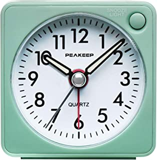 Peakeep Ultra Small, Battery Travel Alarm Clock with Snooze and Light, Silent with No..