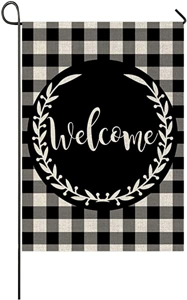 Auomily Welcome Garden Flag Vertical Double Sided Black White Buffalo Plaids Inspirational Quotes Burlap Garden Yard Banner Lawn Outdoor Decoration 12 5 X 18 Inch Welcome Buffalo Plaids