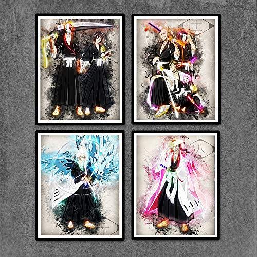 Japanese Manga Anime Bleach Poster Kurosaki Ichigo Canvas Prints 8 x 10 inches Unframed Wall Art Decoration for Home Bedroom Dorm,Set of 4pcs