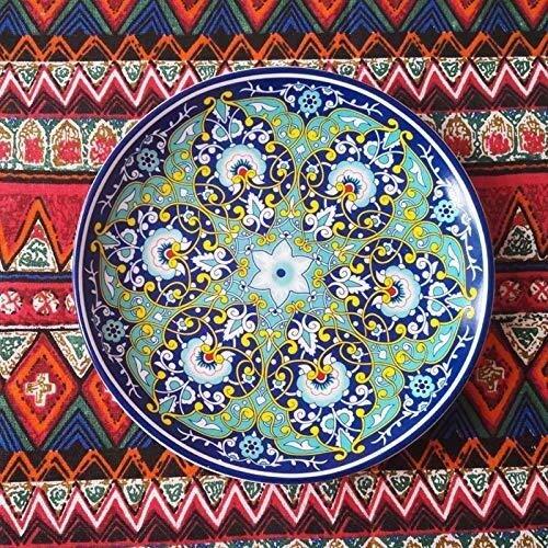 GNLIAN HUAHUA Bowls Platten, Keramikgeschirr, Steak Teller, Naher Osten Persisch Artplatte Dekoration Platte hängende Platte Qualität keramische Platten-8-Zoll-exotischer Stil Dish Bohemian