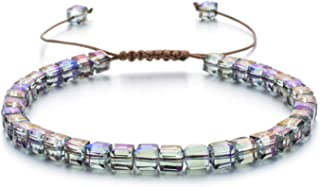 النساء اليدوية كريستال سوار الزجاج الخرزة أساور قابل للتعديل سلسلة اليدوية بوهيميا مجوهرات أساور مع علبة هدية