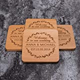 Personalized Monogram Beech Wood Coasters for Drinks - Personalized Wedding Gifts Bridal Shower...