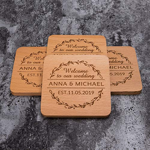 Personalized Monogram Beech Wood Coasters for Drinks - Personalized Wedding...