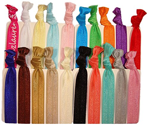 """Hair Ties Ponytail Holders - 20 Pack""""Solid Assortment"""" No Crease Ouchless Elastic Styling Accessories Pony Tail Holder Ribbon Bands - By Kenz Laurenz"""