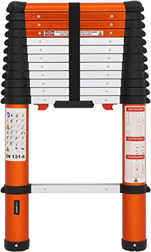 new arrival Luisladders Aluminum outlet sale Telescoping popular Ladder Telescopic Extension Ladder 330 Pound Capacity One-Button Retraction (12.5 FT) outlet sale
