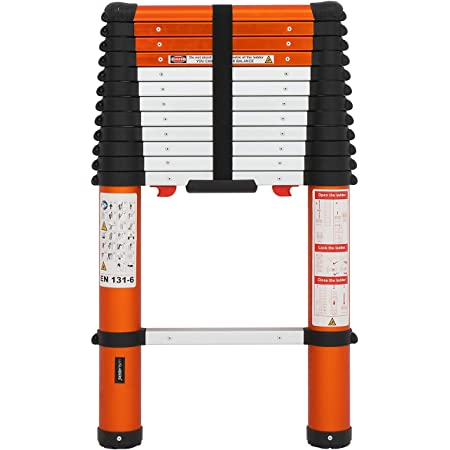 Luisladders Telescoping Ladder Multi-Use Telescopic Extension Ladder Anti-Pinch and Anti-Slip (12.46 Feet)