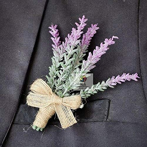 Artificial and Dried Flower Corsage Suit Accessories Decoration Bridesmaid Wedding Groom Groomsman Boutonnieres Pin Brooch Artificial Lavender - ( Color: Man Boutonniere01 )