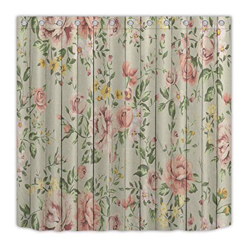 LB Shabby Chic Shower Curtain by,Vintage Pink Flower Pattern on Rustic Wood Panel Shower Curtain for Bathroom,Waterproof Polyester Fabric72 Inch by 72 Inch